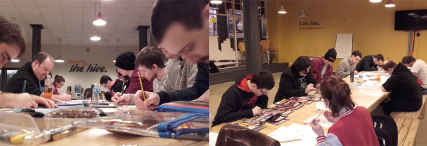 Creating their own heroes in the Fandom Workshop in the NOWproject, hosted by Revolve Comics.